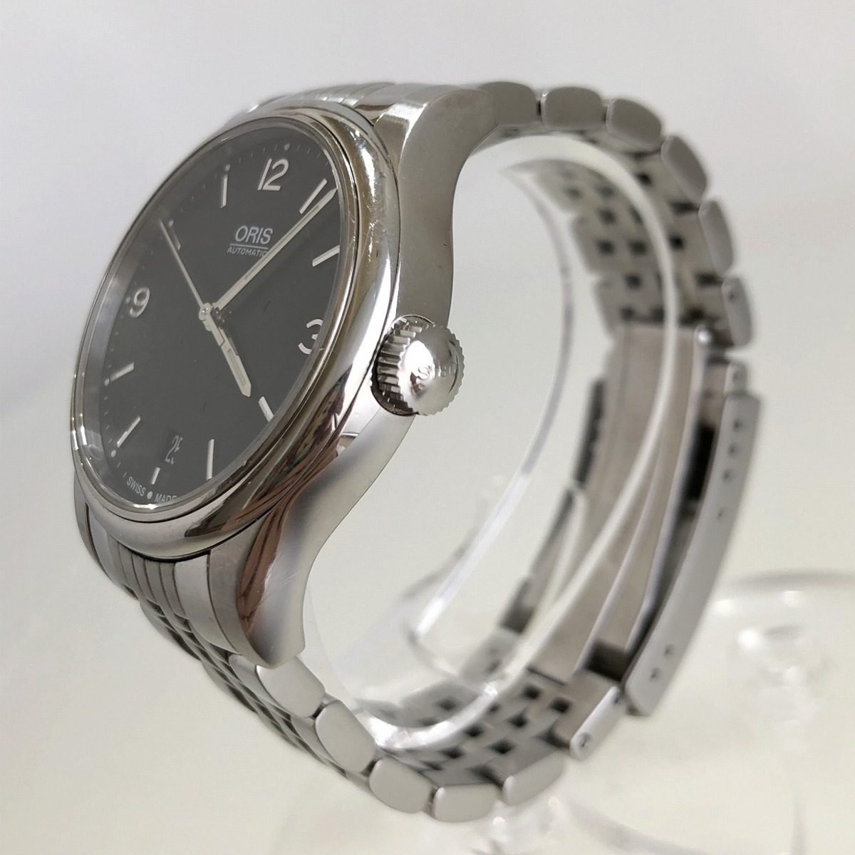 定価15.3万円 美品 ORIS オリス クラシックデイト 自動巻き 腕時計 733 7578 4034M 裏スケ 黒文字盤 メンズ 質屋の質セブン_画像5