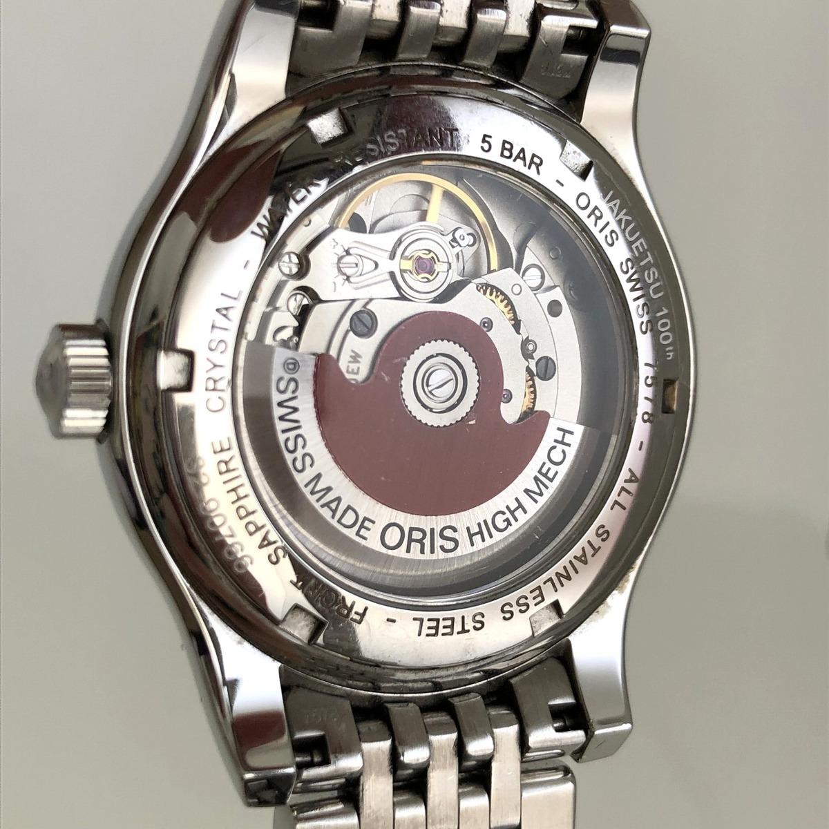 定価15.3万円 美品 ORIS オリス クラシックデイト 自動巻き 腕時計 733 7578 4034M 裏スケ 黒文字盤 メンズ 質屋の質セブン_画像3