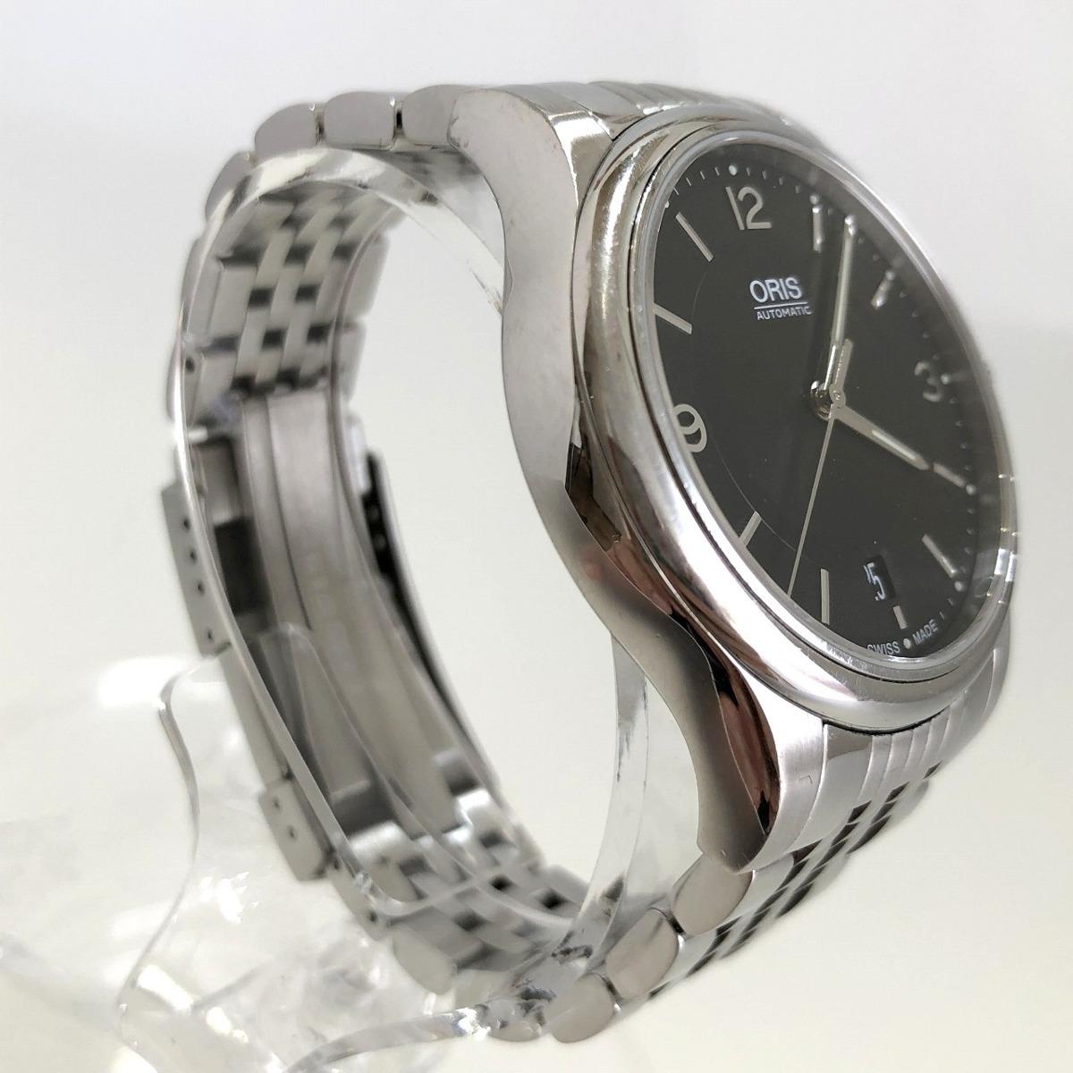 定価15.3万円 美品 ORIS オリス クラシックデイト 自動巻き 腕時計 733 7578 4034M 裏スケ 黒文字盤 メンズ 質屋の質セブン_画像4