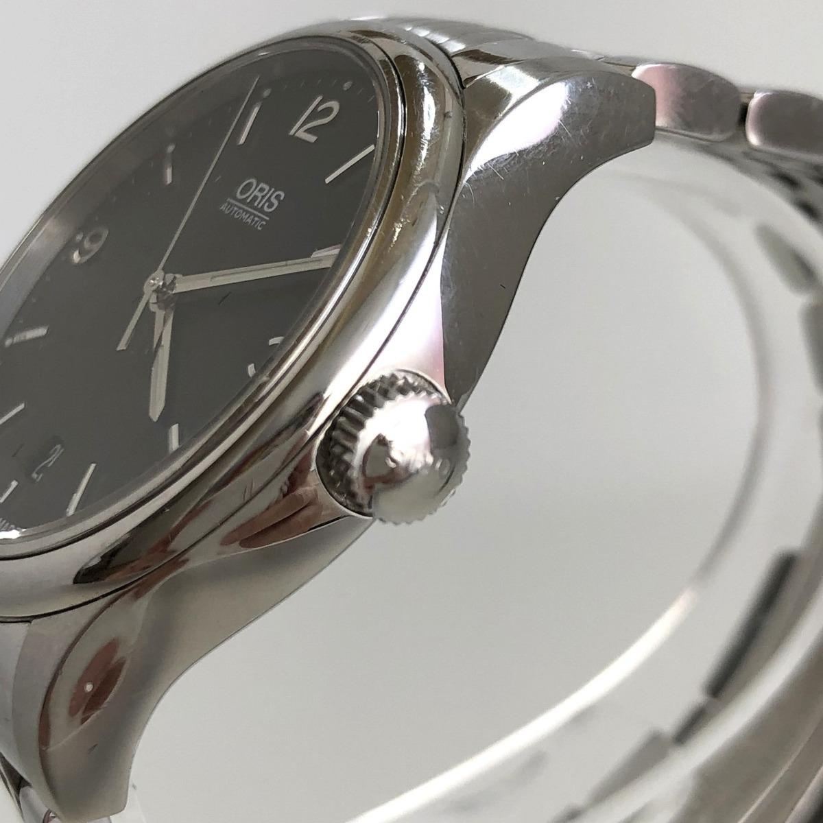 定価15.3万円 美品 ORIS オリス クラシックデイト 自動巻き 腕時計 733 7578 4034M 裏スケ 黒文字盤 メンズ 質屋の質セブン_画像6