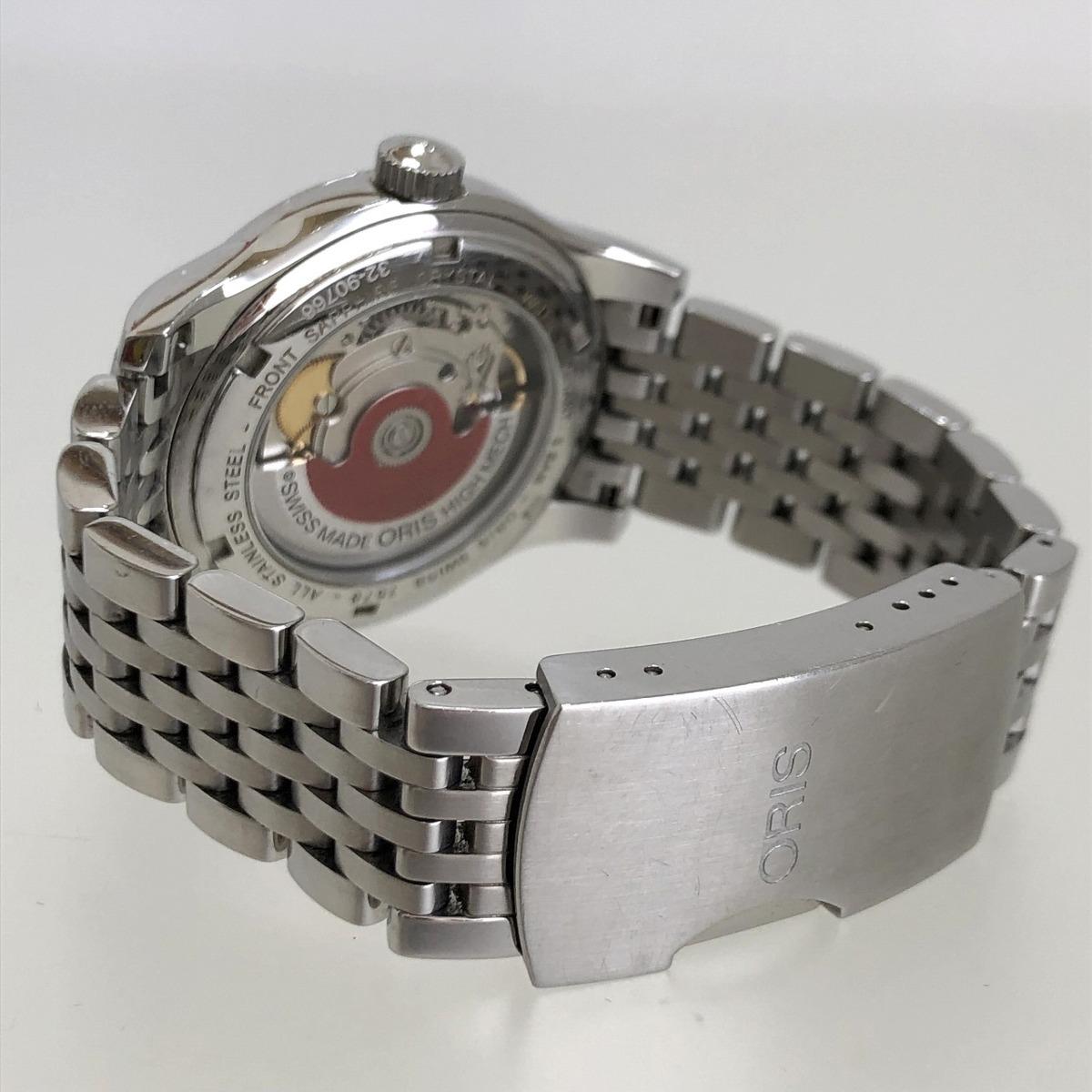 定価15.3万円 美品 ORIS オリス クラシックデイト 自動巻き 腕時計 733 7578 4034M 裏スケ 黒文字盤 メンズ 質屋の質セブン_画像8