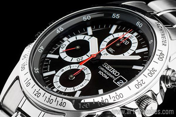 【1円開始】セイコー 海外 ブラック&ホワイト 逆輸入 1/20秒 高速 クロノグラフ 新品 腕時計