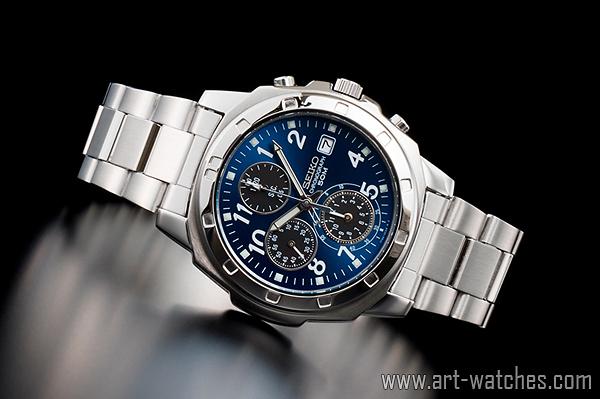 【1円開始】セイコー 海外 SEIKO 逆輸入 サファイアブルー 新品 クロノグラフ 腕時計_画像2