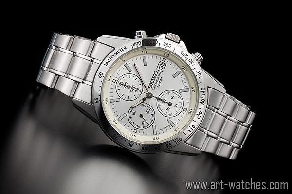 【1円開始】セイコー 海外モデル 逆輸入 ホワイトシルバー 新品 1/20秒 クロノグラフ 腕時計_画像2