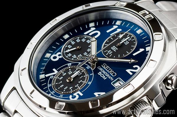 【1円開始】セイコー 海外 SEIKO 逆輸入 サファイアブルー 新品 クロノグラフ 腕時計_画像1