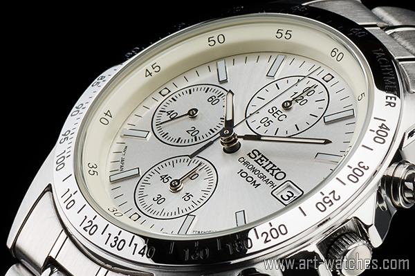 【1円開始】セイコー 海外モデル 逆輸入 ホワイトシルバー 新品 1/20秒 クロノグラフ 腕時計_画像1