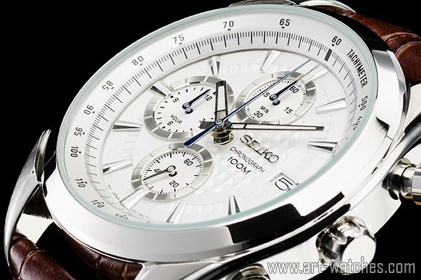 【1円開始】 セイコー 海外 シルバー 100m防水 タキメーター 蓄光 クロノグラフ 新品 腕時計