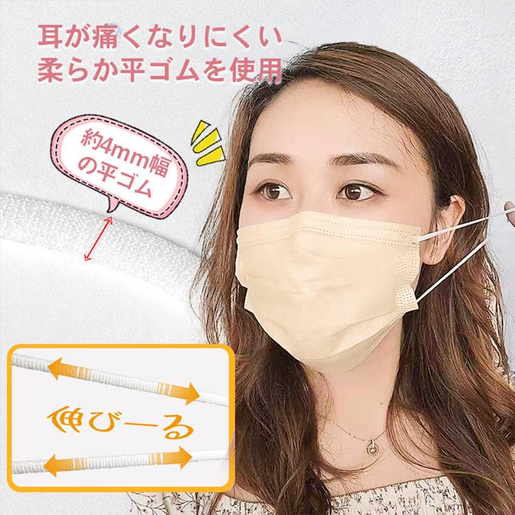 送料無料 マスク 不織布 50枚入り カラー 血色 立体 使い捨て マスク工業会 平ゴム 大人 女性 防塵 花粉 飛沫感染 対策 ny405_画像5