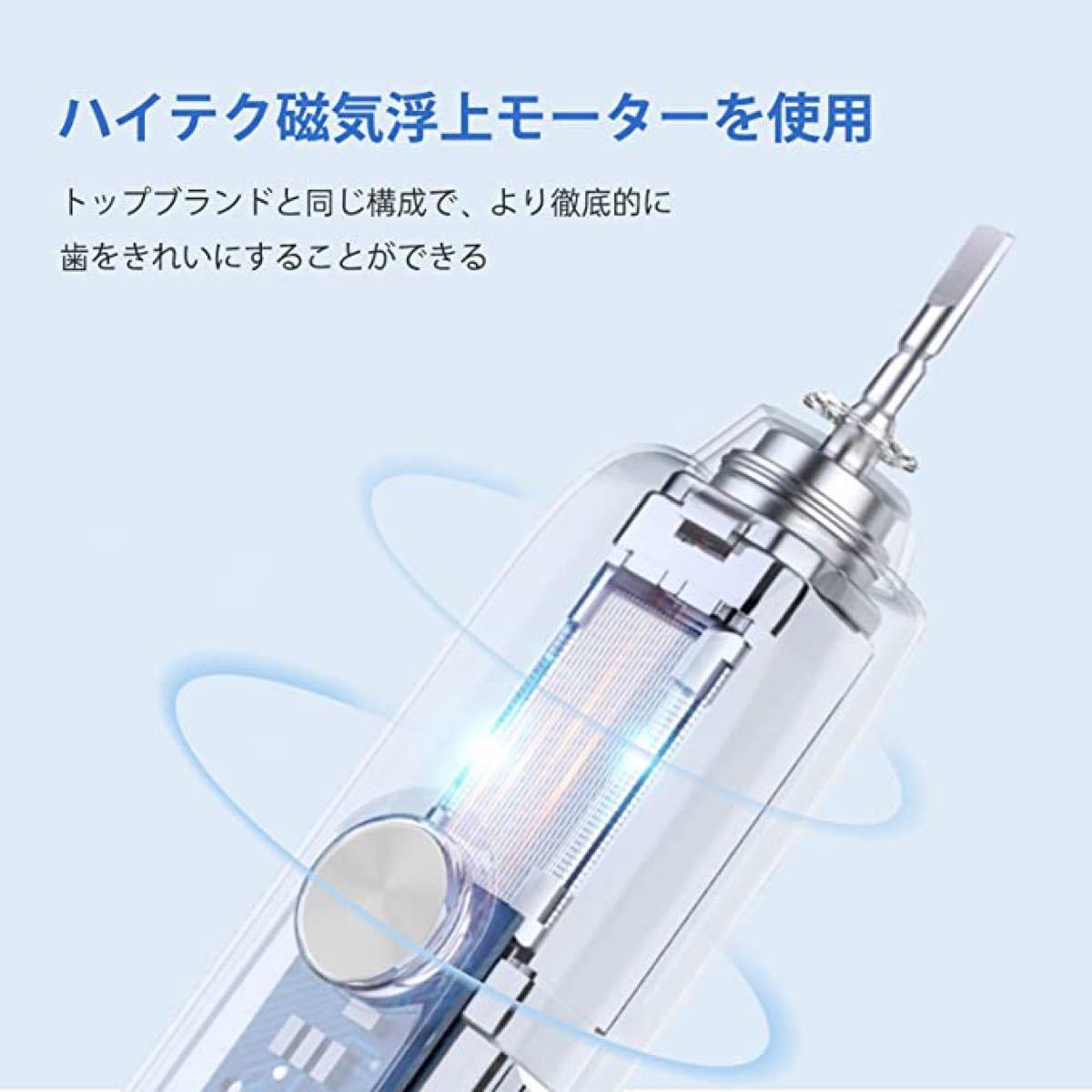 電動歯ブラシ 音波歯ブラシ ソニック USB充電式 IPX7防水 替えブラシ5本 5つのモード 歯ブラシ 電動歯磨き