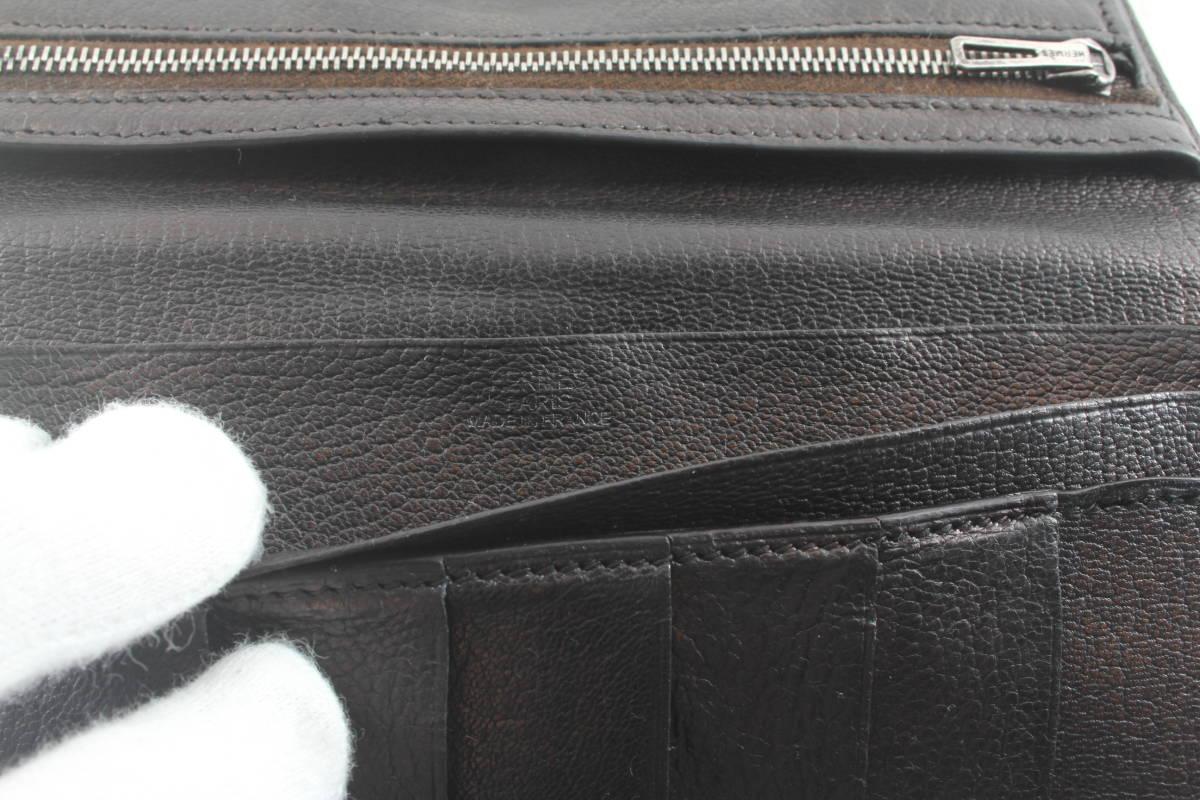 セール★HERMES エルメス ベアンスフレ シェーブル 長財布 シルバー金具 □J刻印 二つ折り長財布 財布 ブラック 黒 516_画像10