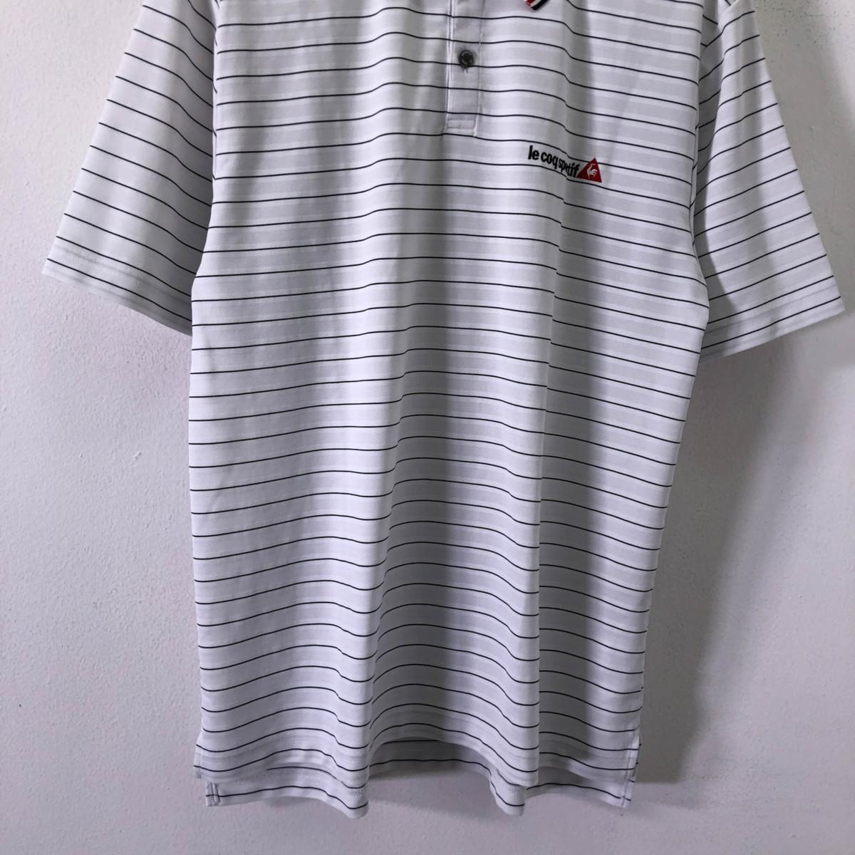 ゴルフに!!◆le coq sportif GOLF ルコック ゴルフ ロゴ刺繍 ボーダー柄 半袖 ドライ ポロシャツ M/メンズ スポーツ 白 ホワイト_画像3