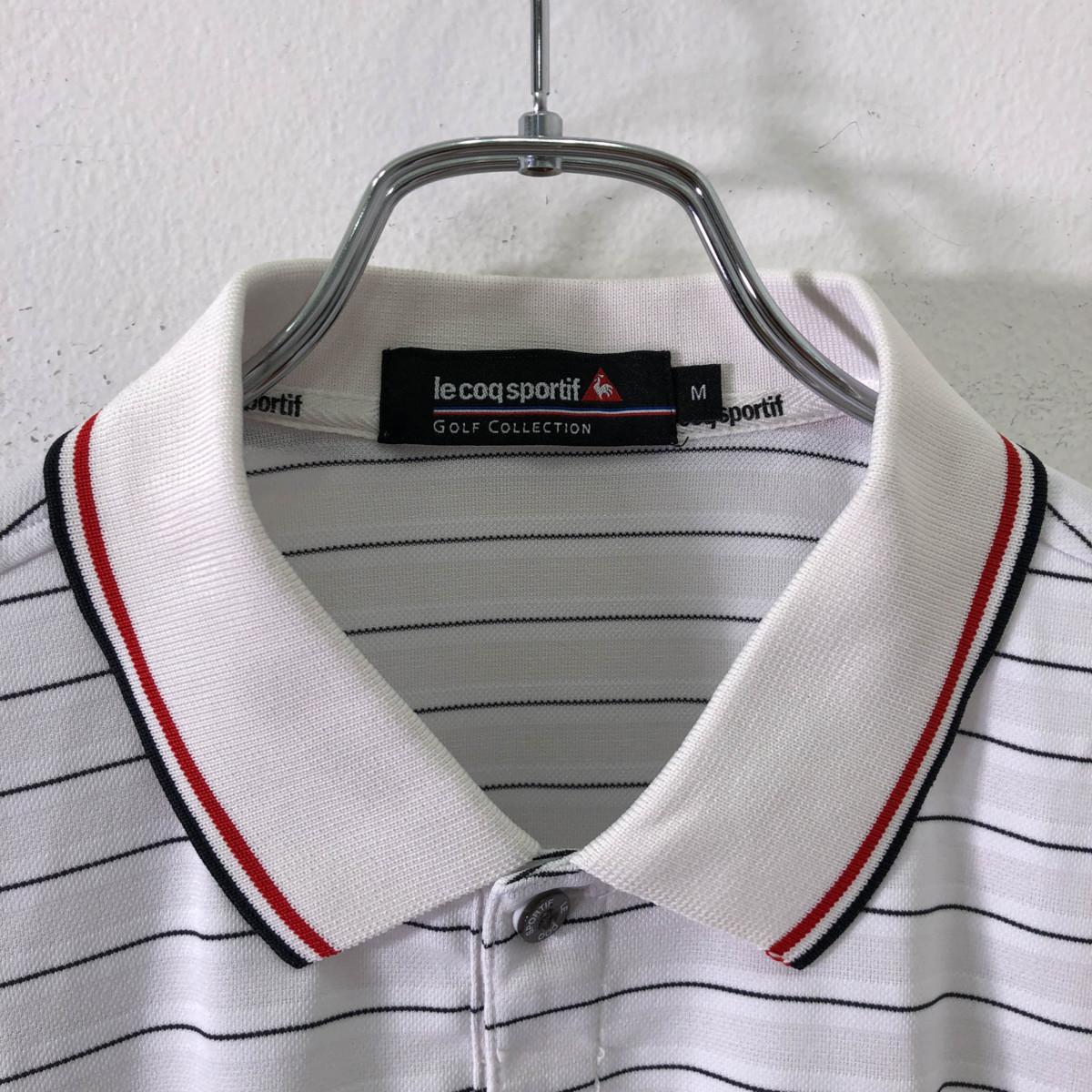 ゴルフに!!◆le coq sportif GOLF ルコック ゴルフ ロゴ刺繍 ボーダー柄 半袖 ドライ ポロシャツ M/メンズ スポーツ 白 ホワイト_画像5