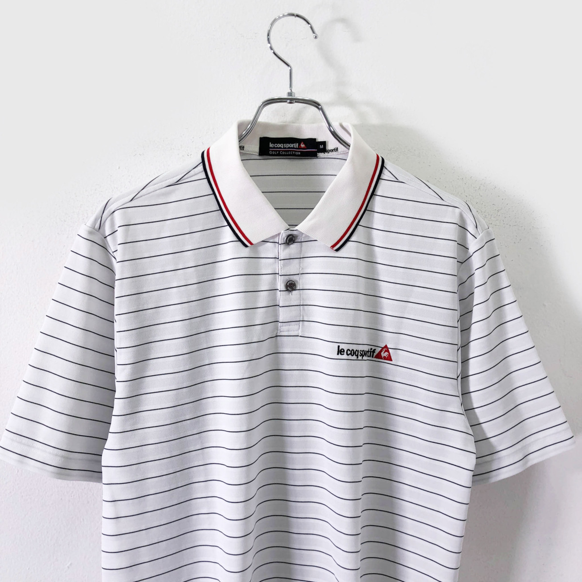 ゴルフに!!◆le coq sportif GOLF ルコック ゴルフ ロゴ刺繍 ボーダー柄 半袖 ドライ ポロシャツ M/メンズ スポーツ 白 ホワイト_画像1
