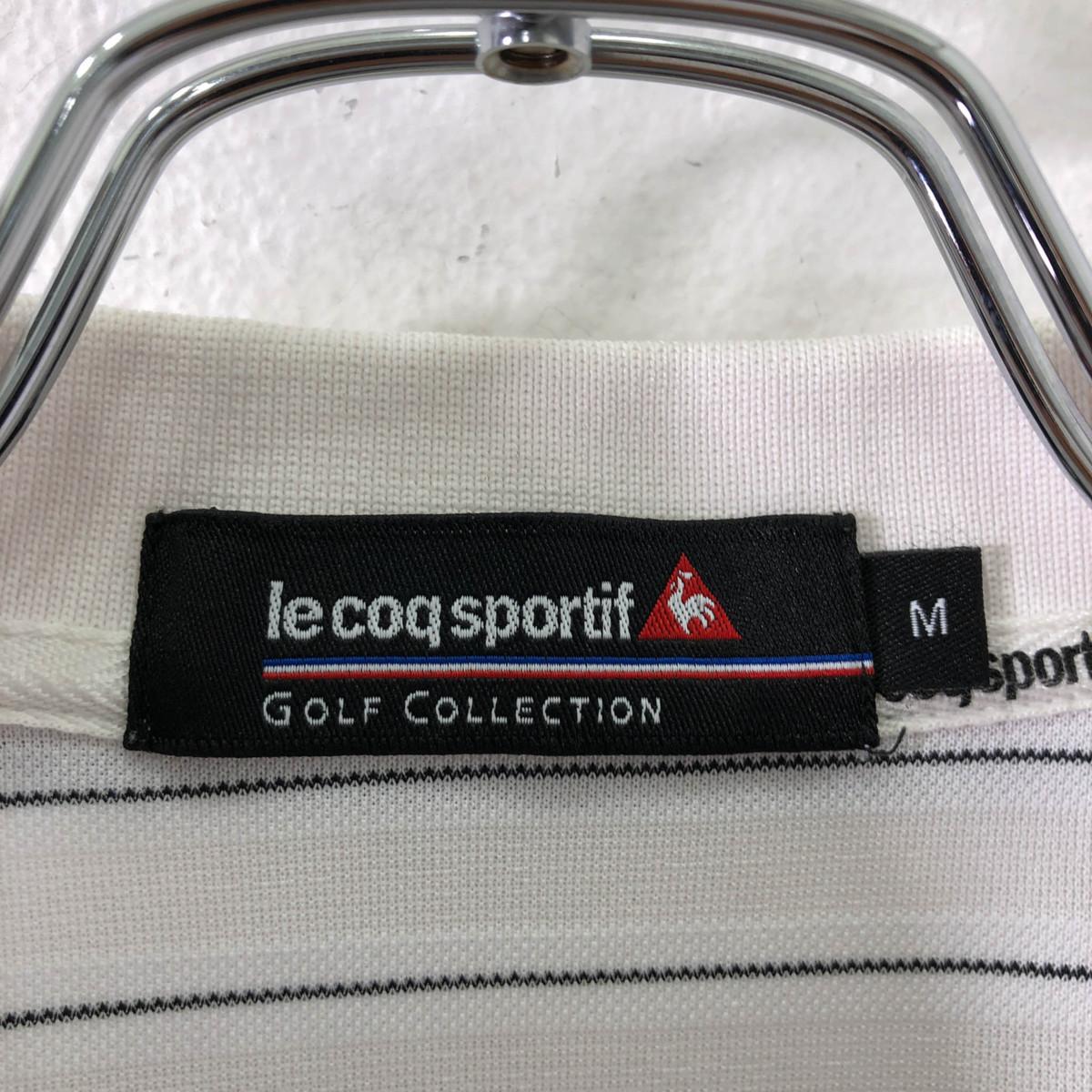 ゴルフに!!◆le coq sportif GOLF ルコック ゴルフ ロゴ刺繍 ボーダー柄 半袖 ドライ ポロシャツ M/メンズ スポーツ 白 ホワイト_画像6