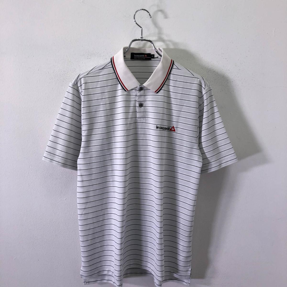 ゴルフに!!◆le coq sportif GOLF ルコック ゴルフ ロゴ刺繍 ボーダー柄 半袖 ドライ ポロシャツ M/メンズ スポーツ 白 ホワイト_画像2