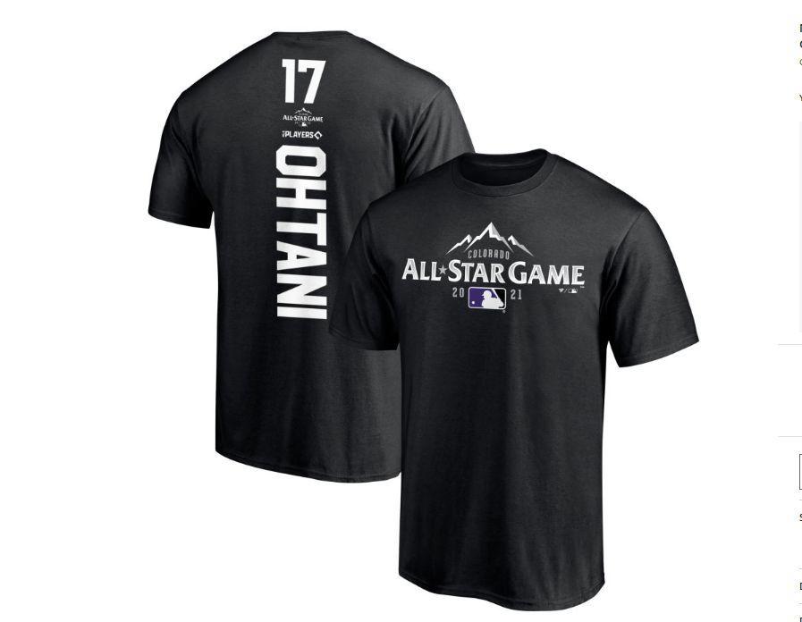 2021 MLB オールスター エンゼルス 大谷翔平 Tシャツ Sサイズ FANATICS製 黒色① _大人用アメリカSサイズです