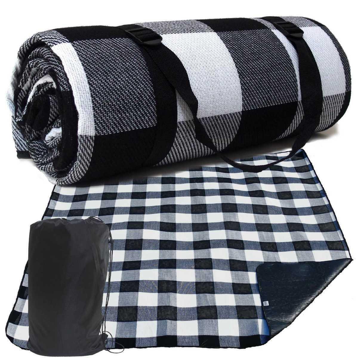 レジャーシート 厚手 ブラック×ホワイト黒白 200×200cm 収納袋付き