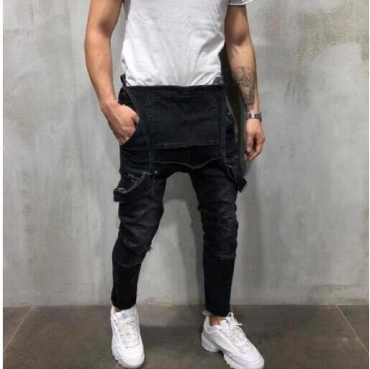 デニム サロペット オーバーオール ジーンズ オールインワン デニムパンツ ペインターパンツ メンズ M L 黒 ブラック
