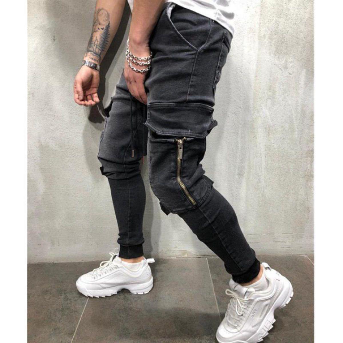 ジョガーパンツ ポケット付き デニム テーパードパンツ ボトムス スキニーパンツ ジーンズ ストレッチ M L XL 黒 ブラック