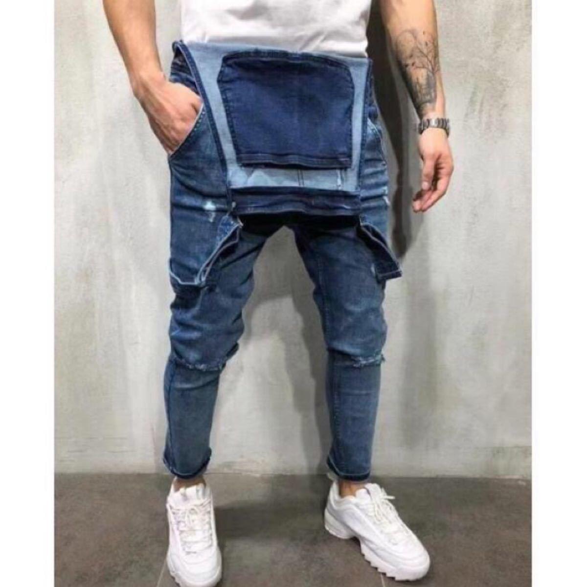 デニム サロペット オーバーオール ジーンズ オールインワン デニムパンツ ペインターパンツ メンズ M L ブルー 青  作業服
