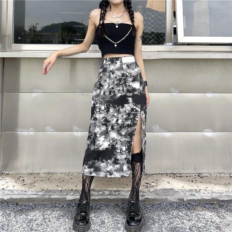 スカート スリット ハイウエスト ロングスカート タイトスカート 黒 ブラック 白 ホワイト タイトスカート M