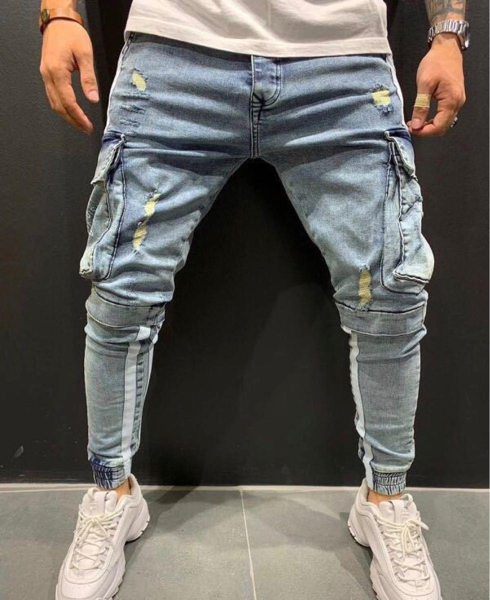 デニム テーパードパンツ ボトムス スキニー ジーンズ ラインパンツ ジョガーパンツ ダメージデニム 青 ブルー S L パンツ