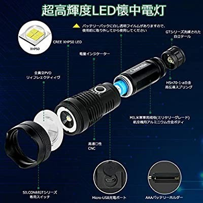 懐中電灯 LED ハンディライト超強力 USB充電式 3000ルーメン 超高輝度