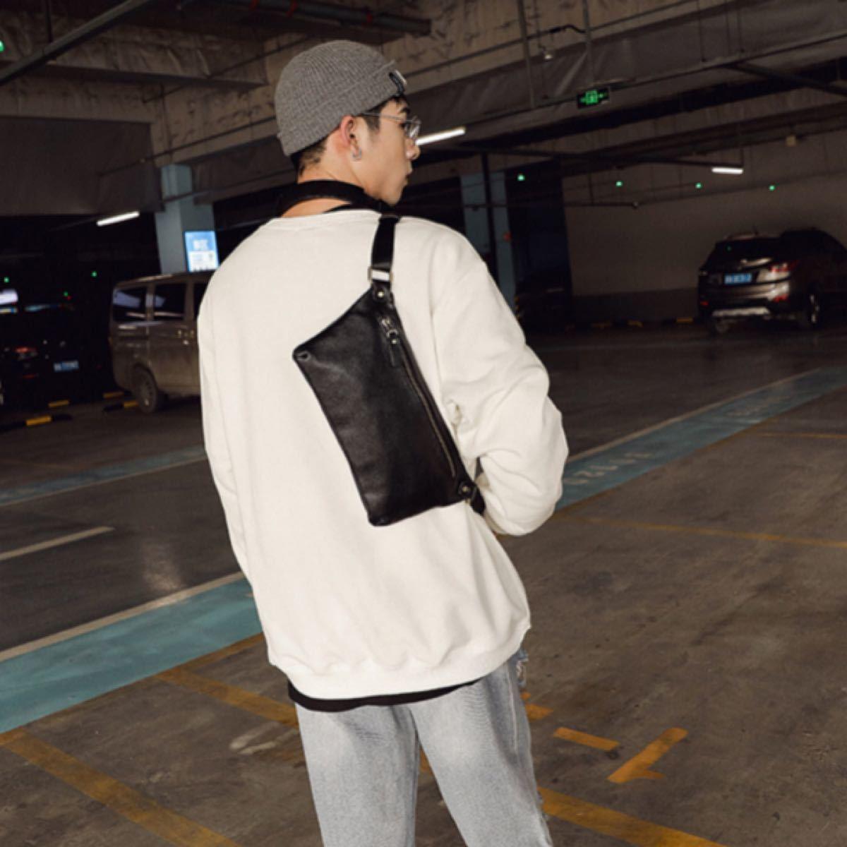 ボディバッグ ウエストバッグ ショルダーバッグ黒 ブラック ヒップバック フェイクレザー レザー メンズ サコッシュ コンパクト