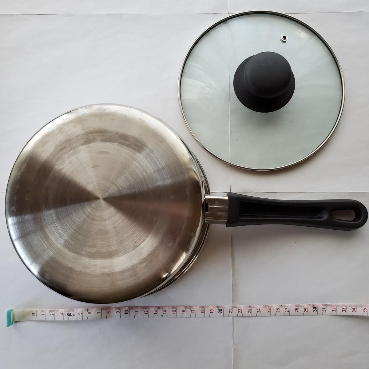 片手鍋 ステンレス 18㎝  ガラス蓋付き