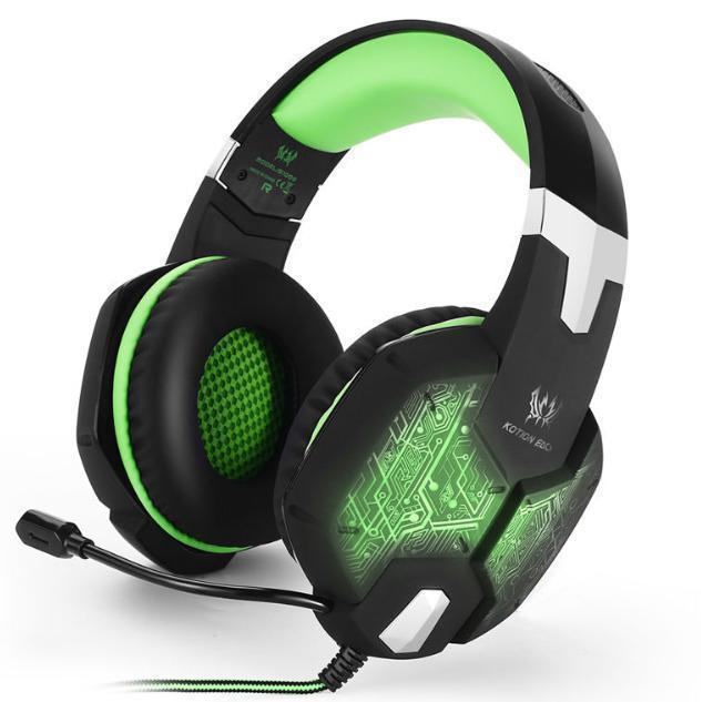 S50 ゲーミングステレオヘッドホン ゲーム ヘッドセット 高音質 マイク LEDライト 手元コントローラー 快適装着 グリーン/緑 PC/PS4/XBOX_画像2