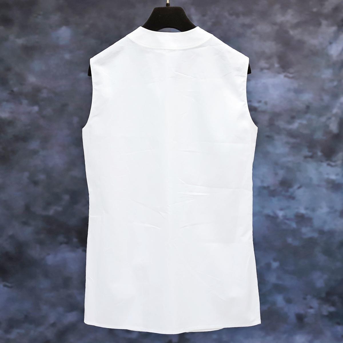 本物 エルメス 極希少 マルジェラ期 シェル釦 ポケット付きノースリーブシャツ サイズ36 ホワイト トップス ベスト ブラウス HERMES_画像4