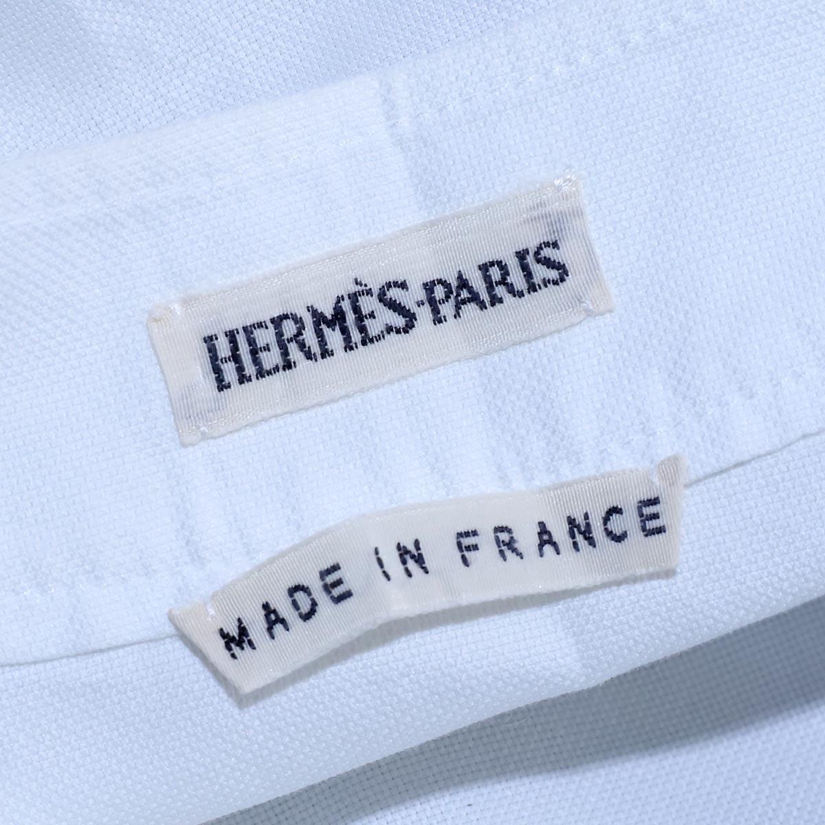 本物 エルメス 極希少 マルジェラ期 シェル釦 ポケット付きノースリーブシャツ サイズ36 ホワイト トップス ベスト ブラウス HERMES_画像6