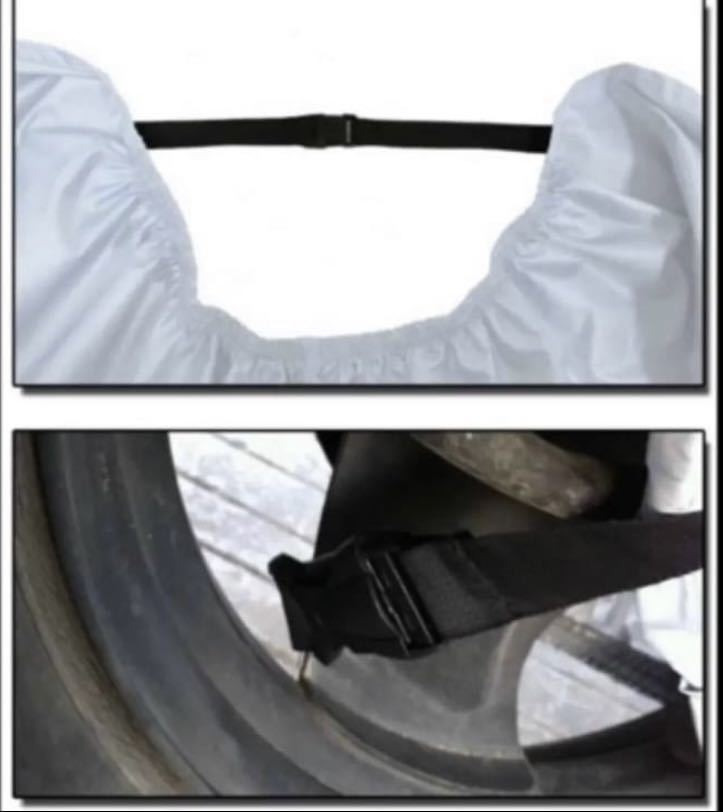 バイクカバー 中型 大型 耐熱 防水 防犯 防雪 雨対策 UV 黒×銀 2XL_画像4