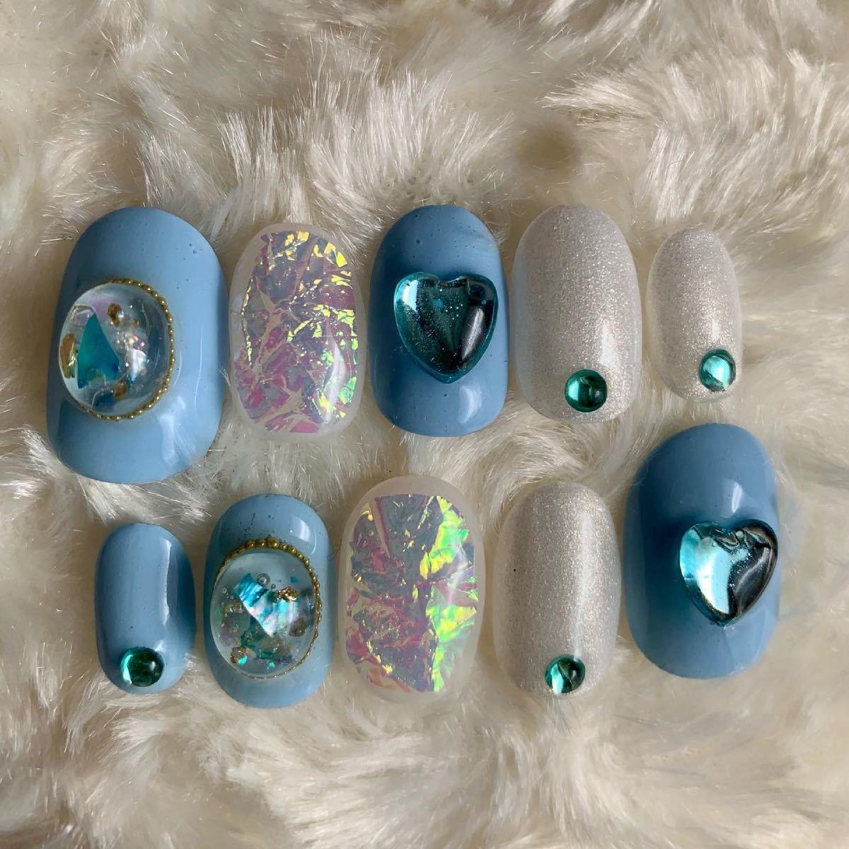 ネイルチップ ビジュー 付け爪 ハンドメイド ブルー ゆめかわ 量産型