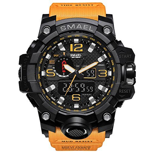 腕時計 メンズ SMAEL腕時計 メンズウォッチ 防水 スポーツウォッチ アナログ表示 デジタル クオーツ腕時計  多機能 ミリ_画像1