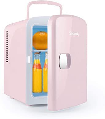 02ピンク AstroAI 冷蔵庫 小型 冷温庫 ミニ冷蔵庫 4L 化粧品 小型でポータブル 家庭 車載両用 保温 保冷 2電源_画像1
