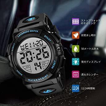 01.ブルー 腕時計 メンズ デジタル スポーツ 50メートル防水 おしゃれ 多機能 LED表示 アウトドア 腕時計_画像2