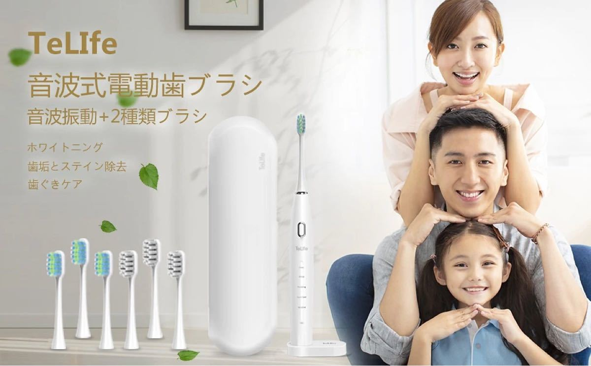 電動歯ブラシ 2種類歯ブラシ6本付き 高速振動 3時間フル充電 IPX7防水