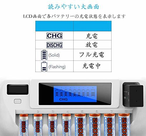 VIWIPOW 白い単体 VIWIPOW 急速電池充電器 単三単四充電池 充電器 ニッケル水素充電池/ニカド充電池に対応_画像5