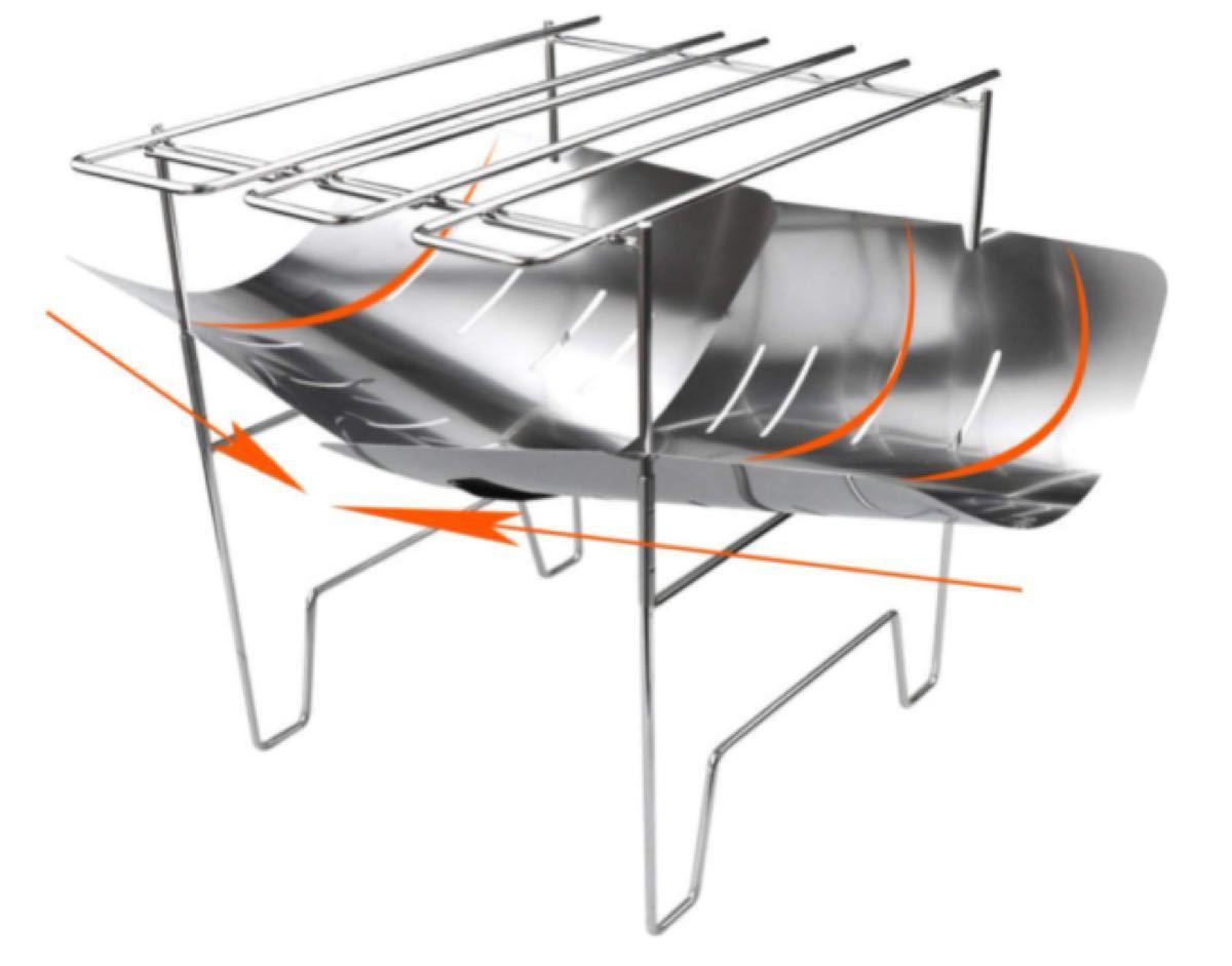 小型 炊き火台 アウトドアコンロ バーベキュー グリル コンロ ストーブ アウトドア ステンレス鋼 折り 軽量 1台多役 組立簡単