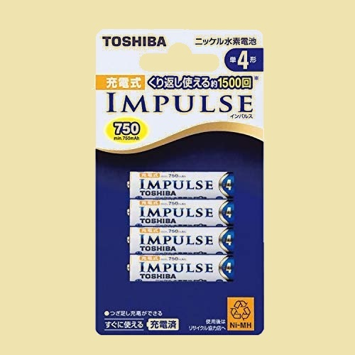 セール 新品 ニッケル水素電池 TOSHIBA 1-LK TNH-4A 4P 充電式IMPULSE 単4形充電池(min.750mAh) 4本_画像1