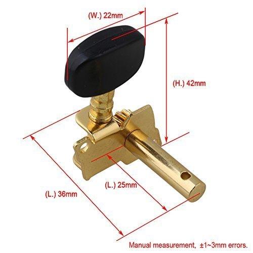 新品 Yibuy Gold-plated 2R2Lチューニングペグマシーン・ヘッドチューナーForウクレレ4弦RX8H_画像4