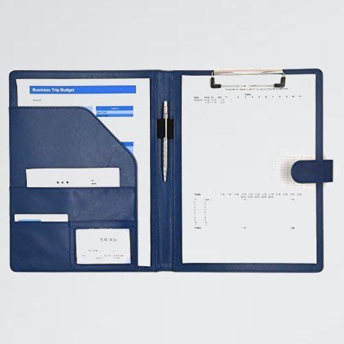 新品 未使用 SHOP MT's 6-T3 (紺, A4) クリップボ-ド A4 クリップ ファイル PUレザ- 書類 フォルダ バインダ- カ-ド ポケット ペン_画像1