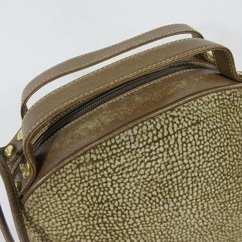 ボルボネーゼ BORBONESE 2Wayハンドバッグ ショルダーバッグ ストラップ付 うずら柄 スエードレザー 茶色 ブラウン ◎H4_画像2