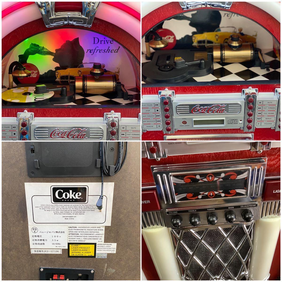 希少 コカコーラ Coca Cola ジュークボックス CD AUX ラジオ オーディオ レトロ Coke _画像3