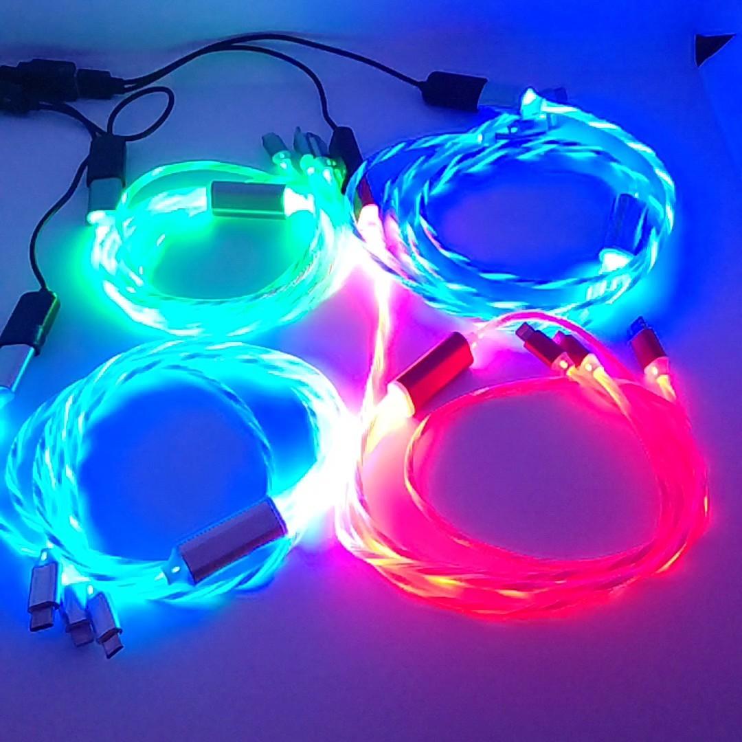 スマホ充電ケーブル4本セット(レインボー)(オーロラ)