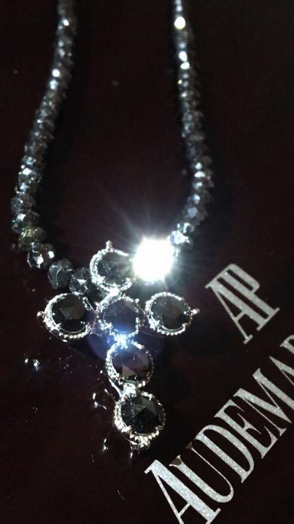 天然本物ブラックダイヤモンドネックレス18K製ホワイトゴールド54カラットダイヤモンド鑑別書付属