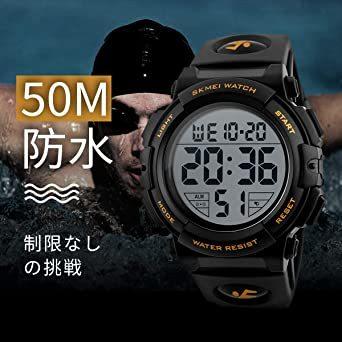 01-ゴールド 腕時計 メンズ デジタル スポーツ 50メートル防水 おしゃれ 多機能 LED表示 アウトドア 腕時計(ゴール_画像5
