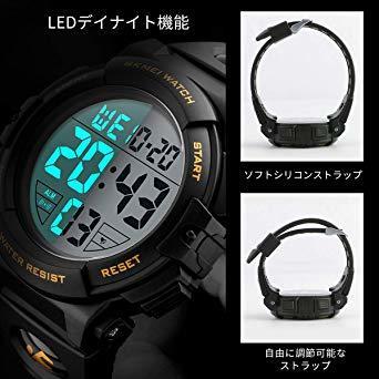 01-ゴールド 腕時計 メンズ デジタル スポーツ 50メートル防水 おしゃれ 多機能 LED表示 アウトドア 腕時計(ゴール_画像4