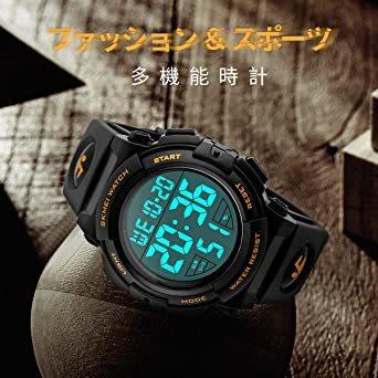 01-ゴールド 腕時計 メンズ デジタル スポーツ 50メートル防水 おしゃれ 多機能 LED表示 アウトドア 腕時計(ゴール_画像2